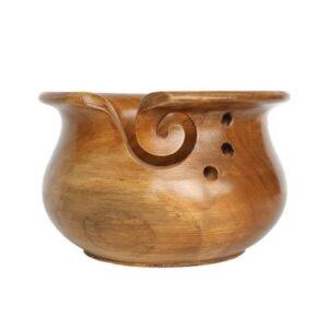 Scheepjes Artisan Yarn Bowl in a Light Teak Wood